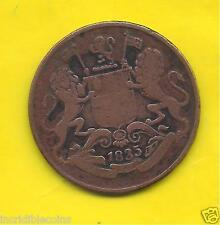 EAST INDIA CO. ~ 1/4 ANNA ~ 1835 ~ RARE COPPER COIN IN FINE ~ A-1