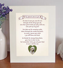 "Labradoodle 10"" x 8"" Free Standing Thank You Poem Fun Novelty Gift FROM THE DOG"