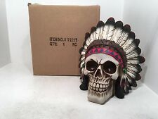Large Indian Chief Skull Figurine Ornament Gothic Scary Special BRAND NEW BOXED