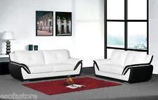 Modern 3 Pc Sofa Set Sofa Loveseat Chair White Bonded Leather Black Living Room