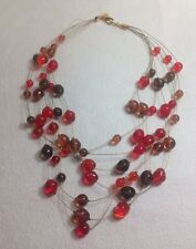 """Joan Rivers Multi Strand Necklace Red/Brown Glass Beaded~20"""""""
