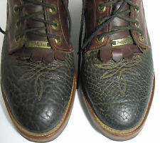 Tony Lama Men's Roper Work Lace-up Boots Textured Black Burgundy Leather 9 1/2EE