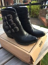 ASOS Black, Buckle Ankle Western Boots Size 5 Worn Twice