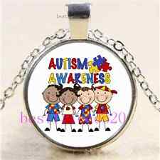 Figure Kids Autism Awareness Cabochon Glass Tibet Silver Chain Necklace