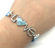 Jewelry Fashion Gift Wedding LOVE Heart Leather Bracelet Plated Silver Blue#1