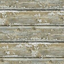 Wallpaper Faux Rustic Old Weathered Barn Wood Chipped Paint Gray Tan Shiplap