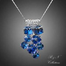 Platinum Plated Blue Cube SWAROVSKI ELEMENT Crystal Pendant Necklace N234-18