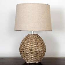 Resin Weaved Rattan Look Table Lamp 38cm with Neutral Colour Shade
