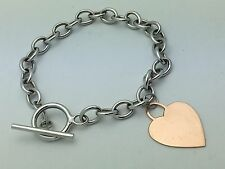 "New 14K White Gold 7.5"" Rolo Link Chain with Rose Gold Heart Charm Bracelet 6.8g"