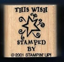 THIS WISH Shooting Star Card Back Gift Tag words Stampin' Up! RUBBER STAMPED BY