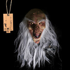 Latex Halloween Mask White Beard Bald Old Man Big Nose Fancy Party Costume Dress
