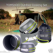 Portable Outdoor Cooking Set Aluminum Pot Bowl Cookware Camping Picnic Hiking US