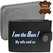 Klassek THE BOSS WIFE SAID SO men Husband Leather Wallet Funny Joke Humorous Dad
