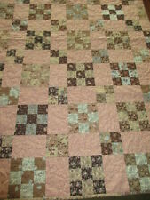 Patch Work Quilt - Pieced Quilt - Machine Quilting - Browns - Pinks & Blues