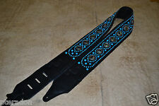 Carlino Paul Stanley Style Studded Black Leather Guitar Strap Turquoise Studs