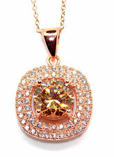 Sterling Silver Rose Gold Plated Morganite And Diamond 3.55ct Necklace (925)