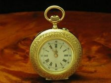 PAUL VUILLE-PERRET 14kt 585 GOLD OPEN FACE TASCHENUHR / EDLE EMAILLE HANDARBEIT