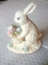 LENOX Porcelain EASTER BUNNY Rabbit FIGURINE w/ BASKET & pastel FLOWERS mint!