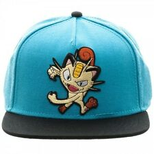 OFFICIAL NINTENDO'S POKEMON MEOWTH BLUE COLOUR BLOCK SNAPBACK CAP (NEW)