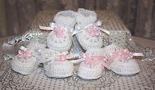 Lot of 3 Pairs WHITE w/Pink Organza Flowers Baby Doll Booties - Reborn Dolls