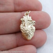 3D Anatomical Heart Charm - 14k Gold Plated 925 Sterling Silver Lifelike Pendant