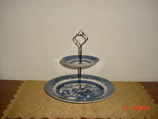 "2-TIER CHURCHILL ""BLUE WILLOW"" TIDBIT SERVER/BLUE & WHITE/ENGLAND/CLEARANCE!"