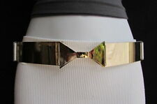"WOMEN HIGH WAIST / HIP GOLD METAL PLATE BOW BELT SILVER ELASTIC 26""-35"" XS S M"