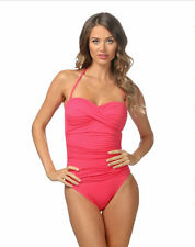 La Blanca Pink Core Solid Ruched Bandeau One Piece Swimsuit 12 NWOT NEW $109