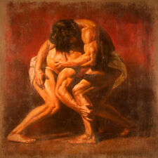 Beautiful Oil painting portraits nude strong young men Wrestler free shipping