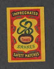 Ancienne étiquette   Allumettes  Italie Serpent