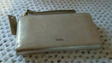 Fossil Emma RFID Large Leather Zip Clutch Wristlet *Taupe Metallic*-Nwt's