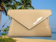 NUDE PATENT LEATHER ENVELOPE WEDDING BRIDAL PARTY EVENING CLUTCH HAND BAG