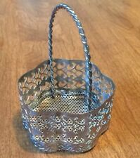 Post 1940 Silver Plated Filigree Round Basket
