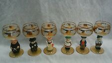 Nice 6 vintage Goebel Germany figural cut crystal grapes wine glasses