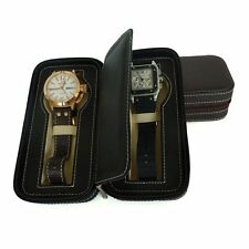2 WATCH BROWN LEATHER TRAVEL ZIPPERED COLLECTOR STORAGE ZIPPER CASE MEN'S GIFT