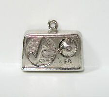 Vintage 3D Radio with Musical Note on Speaker Sterling Silver 925 Charm