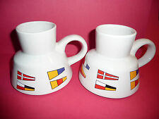 Pair of Vintage White Porcelain Nautical Flag Mugs Wide Base Very Stable