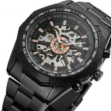 New Winner Men's Skeleton Stainless Steel Automatic Mechanical Sport Wrist Watch