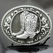 Vintage Silver Western Cowboy Cowgirl Boots Spur Rodeo Belt Buckle Line Dance