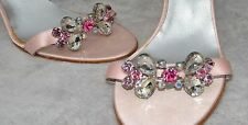 WOMENS ANNE KLEIN PINK Satin PEEP TOE HEELS SHOES  with a Stones SIZE 10M.
