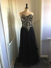 1950s Sequin Evening Dress Gold And Black Size 12 Silk & Taffeta Vintage