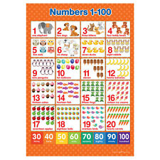 A3 Numbers 1-100  Poster Maths Wall Chart