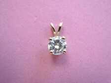 Gorgeous Real 10k Yellow Gold Single Round Diamond Pendant Charm 0.75 ct MustSEE