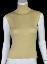 ZANG TOI Beige Wool Silk Blend Mock Turtleneck Sleeveless Knit Top M