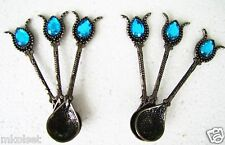 Handmade Antique Silver-Blue Turkish Ottoman Teaspoons for Coffee Tea 6 pcs.
