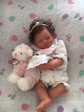 OOAK Micro Preemie Reborn Baby girl Brylee with white wicker bassinet