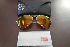 New Ray Ban Aviator Large Metal 3026 AMBER BROWN flash Mirror 62MM Sunglasses