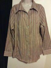 Women Plus Ashley Stewart 3X Brown Tan Stripe Button Dress Shirt Long Sleeve Top