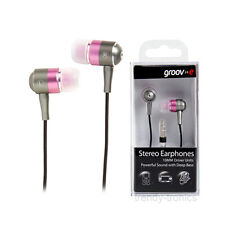 Groov-e Metal  Ear Bud Stereo Earphones 3.5mm Jack Connection - Pink/Silver