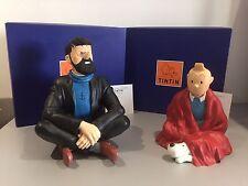 """VENTE Hergé Lot n°163  LEBLON-DELIENNE """"Tintin et Haddock assis en tailleur"""""""